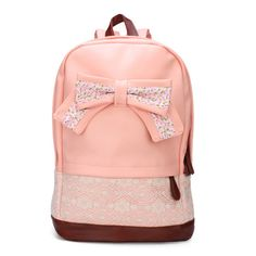 """This is a sweet girl's schoolbag made from PU leather and lace. It's appearance is so beautiful. Description Material PU Leather+Lace Weight About 640g Length 30cm(11.81"""") Height 40cm(15.75"""") Width 15"""