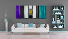 Stripes aubergine, teal and ochre. Large canvas art paintings by Rob Haigh. Abstract art on canvas.