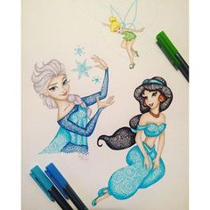 "Elsa (Drawing by Kristina_Illustrations [For the full description and/or other pictures in the series, see my board ""Drawings""] Tinkerbell Drawing, Elsa Drawing, Doodle Art Drawing, Mandala Drawing, Cute Disney Drawings, Disney Princess Drawings, Kawaii Drawings, Cartoon Drawings, Galaxy Drawings"