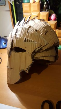 This is my cardboard helmet, finished, it took around 10 hours total to design and make, but worth it