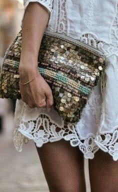 // sequin bag and lace Gypsy Style, Boho Gypsy, Bohemian Style, Boho Chic, Gypsy Bag, Hippie Chic, Mode Hippie, Fashion Hub, Boho Fashion