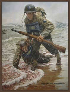 Omaha Beach--116th Regiment, 29th Division (Blue and Gray).  I think of my friend, who was in the 116th at Omaha, and survived without a scratch, while men were falling fast all around.