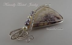 Argentium 930 Sterling Tiffany Stone Wire Wrapped Pendant with Swarovski Pearls Handmade Naturally Twisted Jewelry