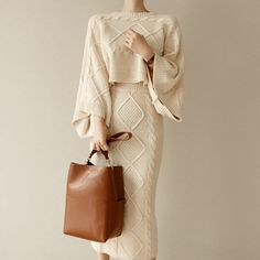 Autumn Office Lady Knitted 2 Piece Set Batwing Sleeve Sweater and Bodycon  Skirt Casual Solid Sweater ee3c0e051489