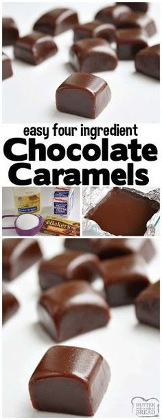 Chocolate Caramels are soft, chewy homemade caramels with the amazi. Chocolate Caramels are soft, chewy homemade caramels with the amazing addition of chocolate! Perfect holiday treats that are delicious & easy to make. Incredible with Köstliche Desserts, Delicious Desserts, Dessert Recipes, Homemade Caramels, Homemade Candies, Homemade Candy Recipes, Chocolate Candy Recipes, Homemade Vanilla, Homeade Candy