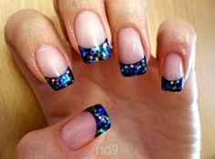 Black tips with blue glitter :)