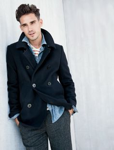 Men's Navy Military Wool Pea Coat $112 | Dress Like A Gentleman ...