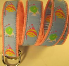 Douglas Paquette Women Canvas Belt Size M Style 111326 Pink Blue. #DouglasPaquette #111326