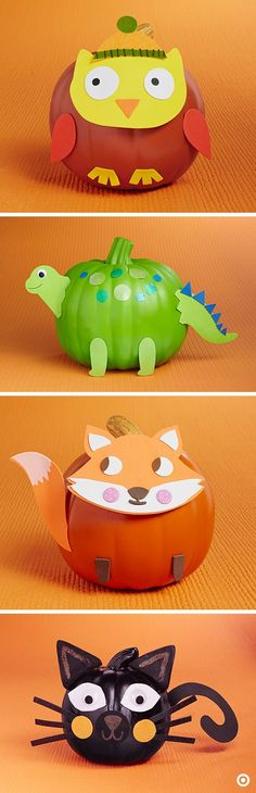 Hello, party animals! Try a new—kid friendly—spinon pumpkin decorating with easy DIY kits. Turn a traditional jack-o-lantern into an adorable owl,dinosaur, fox, or cat without any carving needed.:
