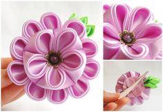 Light pink/lilac satin kanzashi dahlia on a hair clip - Dalie lila-roz pentru par - Colectia Touched by frost (50 LEI la AndiBede.breslo.ro)