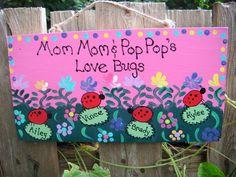 Personalized Grandparent ladybug sign by LazyHoundWorkshop on Etsy, $15.00