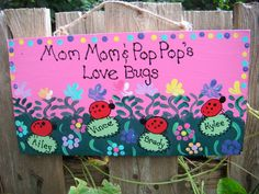 Personalized Grandparent ladybug sign by LazyHoundWorkshop on Etsy, $15.00
