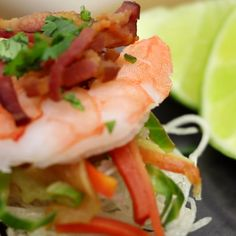 Pancit bites aka noodle bites with shrimp, cabbage and carrots.