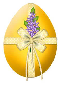 Easter Yellow Egg with Flower Decor PNG Clipart Picture