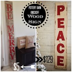 large Christmas sign - DIY tutorial for a Pottery Barn knock-off