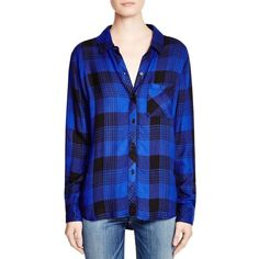Rails Hunter Plaid Shirt ($138) ❤ liked on Polyvore featuring tops, rayon tops, tartan top, blue plaid shirt, tartan shirt and blue shirt