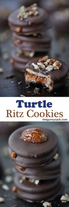 These Turtle Cookies are Ritz cracker sandwiches filled with soft, creamy caramel!