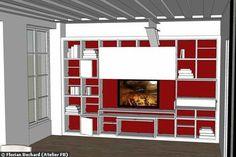 Un meuble bibliothèque pour cacher la télé (position ouverte)
