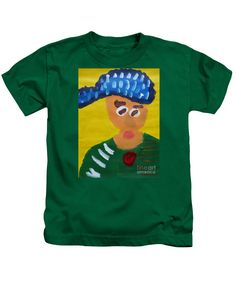 Patrick Francis Designer Kids Kelly Green T-Shirt featuring the painting Portrait Of Camille Roulin 2015 - After Vincent Van Gogh by Patrick Francis