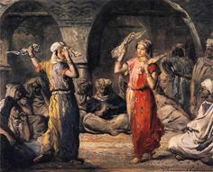 Theodore Chasseriau  - Arab women ( Harem Life scenes ) in art  and painting