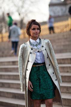 Street Style Fall 2013 - London Fashion Week Street Style, brocade skirt and crisp collared shirt, Miroslava Duma