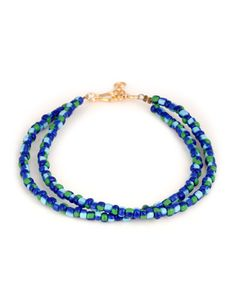 3e4331471 Attractive Blue And Green Beaded Hook Anklets Pair