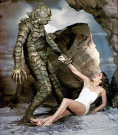 Creature from the Black Lagoon is a 1954 monster horror film directed by Jack Arnold, and starring Richard Carlson, Julia Adams, Richard D. Cool Monsters, Horror Monsters, Famous Monsters, Classic Monsters, Scary Movies, Old Movies, Vintage Movies, Skull Island, Godzilla