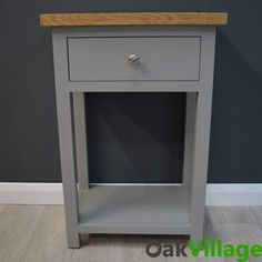 Greymore Painted Oak Small Console Table - Oak Village Storage Drawers, Storage Shelves, Hallway Seating, Small Console Tables, Telephone Table, Grey Paint, Quality Furniture, Solid Oak, Painted Furniture