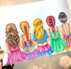By kristina webb can you tell who's who disney princess. by kristina webb best friend drawings Pencil Drawings Of Love, Bff Drawings, Amazing Drawings, Art Drawings Sketches, Beautiful Drawings, Amazing Art, Kristina Webb Drawings, Kristina Webb Art, Disney Kunst