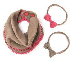 Khaki Bib + Bow Set for Girls, Pink Trim, Pom Pom Bib with Snaps, Soft 100% Cotton Muslin Baby Bib, One Size Reversible, Adjustable