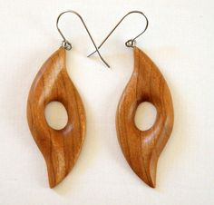 Bold hand carved reclaimed cherry earrings Hand crafted in Bend, Oregon Surprisingly light weight Wooden Necklace, Wooden Earrings, Wooden Jewelry, Wood Projects, Woodworking Projects, Cherry Earrings, Scroll Saw Patterns, Wood Carving, Wood Art