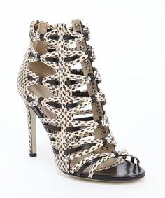 179c621161b7 Jason Wu black and ivory leather pattern detail sandals Sandalias