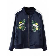 Choies Navy Embroidery Detail Contrast Sleeve Bomber Jacket (€31) ❤ liked on Polyvore featuring outerwear, jackets and blue