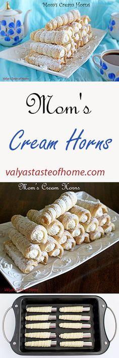 Mom's Cream Horns http://valyastasteofhome.com/moms-cream-horns #momscreamhorns #creamcheesehorns #dessert #quickandeasy