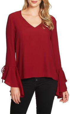 Red Cascade Sleeve Blouse Size 6 (S) Girls Fashion Clothes, Girl Fashion, Fashion Outfits, Formal Tops For Women, Winter Tops, Blouses For Women, Ideias Fashion, Dresses, Sleeve