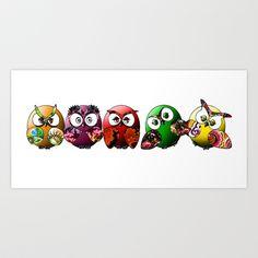 Owls Family Art Print by Tammy Tan