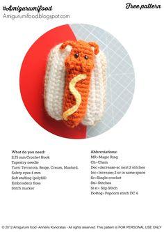 Amigurumi Food: Hot dog pattern Amigurumi Food!