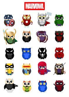 Printable owl marvel stickers 1 pdf Instant by Lateliercreatif06