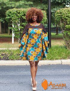 Agambii africain impression papillon robe avec mousseline de