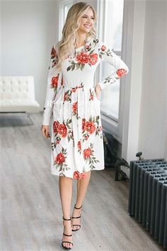 White Red Pleated Floral Dress | Best Place To Buy Modest Dress Online | Modest Dresses and Skirts for Church