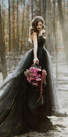 33 Beautiful Black Wedding Dresses That Will Strike Your Fancy--Wedding dress Black Wedding Gowns, Fancy Wedding Dresses, Wedding Dress Styles, Black Weddings, Tulle Wedding, Wedding Bridesmaids, Unique Colored Wedding Dresses, Peacock Wedding, Romantic Weddings