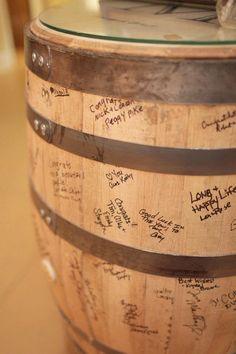 "Guests signed a bourbon barrel. ""Winter Wedding: Mad for Plaid"", Wedding Wednesdays! StyleBlueprint Louisville"