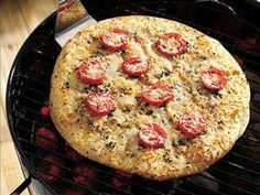 Grilled margarita pizza