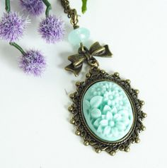 Mint Green Cameo Necklace  Mint Green Jewelry  by JacarandaDesigns, $18.00