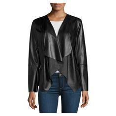 Neiman Marcus Vegan Leather Asymmetric Jacket, Black ($115) ❤ liked on Polyvore featuring outerwear, jackets, long sleeve shawl, shawl jacket, imitation leather jacket, fake leather jacket and asymmetrical zip jacket