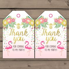 Flamingo party Favor tags Tropical Birthday Thank you tags luau birthday party Flamingo pool party Pink mint Gold Labels Digital PRINTABLE