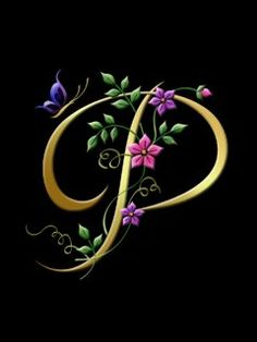the letter P - gold with purple, pink floral