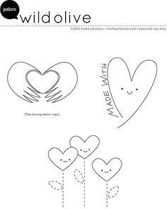 Giving Heart embroidery Patterns by Wild Olive