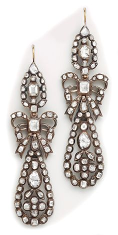 7th Century table-cut diamond, silver  and gold drop earrings