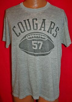 75eda0ee Vintage 80s COUGARS 57 Football Heather Tri Blend Rayon T-SHIRT L Paper  Thin #RussellAthletic #GraphicTee